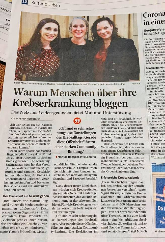 Ordensklinikum Linz Krebsakademie Ordensklinikum Linz InfluCancer Vom Umgang Mit Krebs In Der Welt Von Instagram Snapchat Und Facebook Artikel OÖ Barbara Rohrhofer