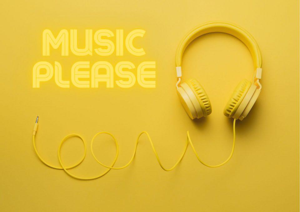 Kopftimismus Music Please Gelber Hintergrund Und Kopfhoerer