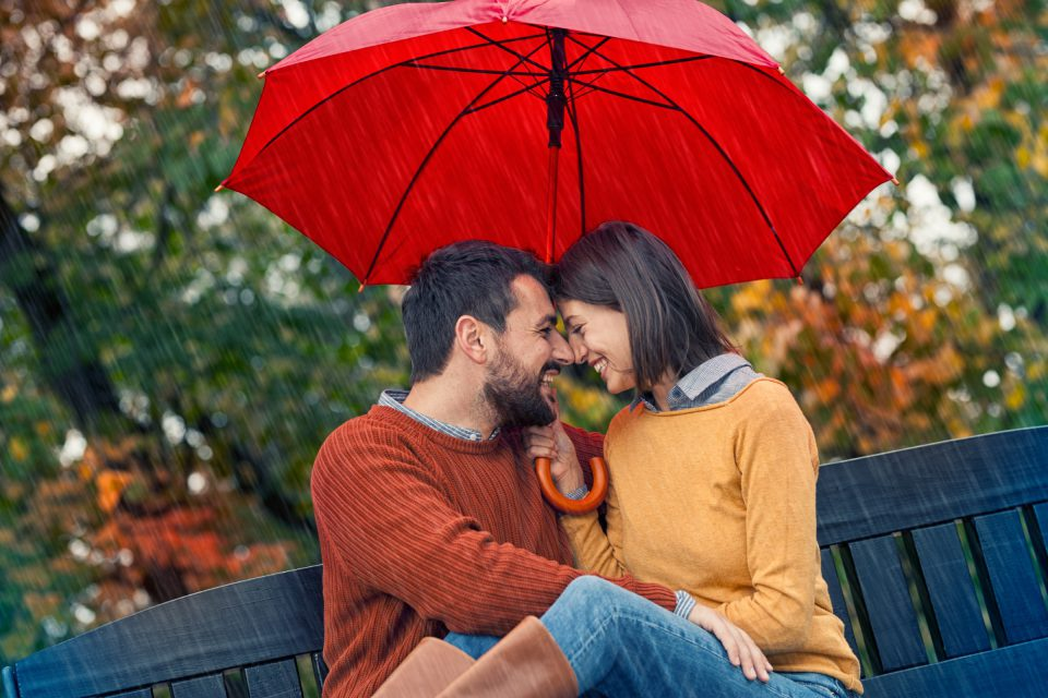 Romantic Autumn Date Of Young Couple In Love